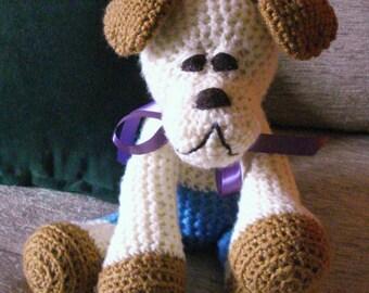"Crocheted  Bulldog puppy dog stuffed animal doll toy  ""Mike"""
