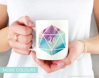D20 Dice Mug | Colour Options | 11oz White Ceramic Coffee Mug | Dungeons and Dragons | RPG | Gift for Geeks