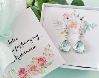 Mint Green Bridesmaid earrings, Bridesmaid gift, Bridesmaid jewelry, Bridesmaid jewelry set, Bridesmaid proposal, Will you be my bridesmaid