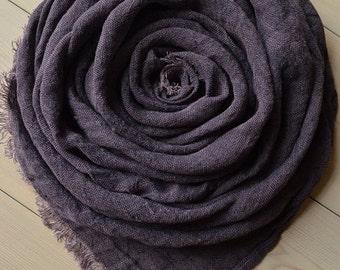 Violet LINEN Scarf, Purple Scarf, Eggplant Scarf, Spring Scarf, Lightweight Scarf