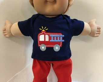 "Cabbage Patch BOY 16 inch KIDS, 2-Piece Outfit, Cool ""Fire Truck -Fire Man"" Top, Red Pants, 16 inch CPK Kids Boy Doll, Fits 15"" Bitty Baby"