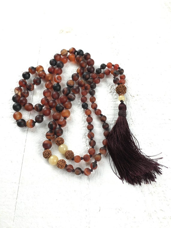 Dark Brown Dream Agate Mala, Long Tassel Mala Beads, Rudraksha And Jade Mala, Knotted 108 Bead Mala, Healing Yoga Jewelry, Mala Beads