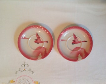 "2- Syracuse China Saucers 5.25"", Traveler Milwaukee Railroad Plates, Pink Birds Airbrush  Pink Geese, Dining Car, Midcentury Railroad Dishes"