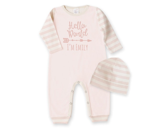 Personalized Newborn Girl Coming Home Outfit, Newborn Girl Outfit, Personalized Newborn Outfit, Hello World, Welcome Baby Girl, TesaBabe