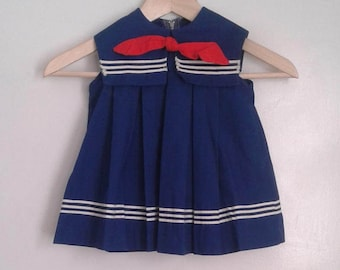 Vintage 1960's Toddlers' Girls' Navy Blue Sailor Dress Red Bow Sz 2 2T Nautical Traditional