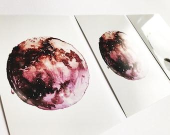watercolor moon textured PRINT