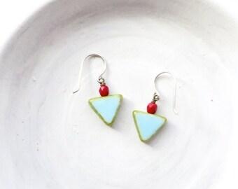 Triangle Earrings / Simple Earrings / Small Earrings / Everyday Earrings / Geometric Earrings / Boho Earring / Small Gift / Dainty Earrings