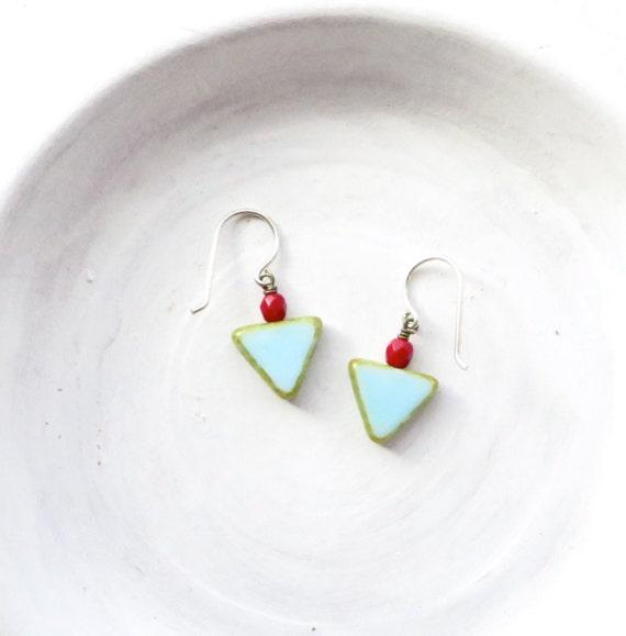 Small Angle Earrings > Blue