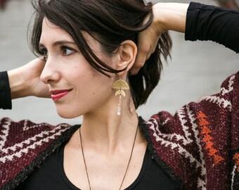 Moon phases earrings, brass & quartz point crystal gemstones, tribal moon earrings, celestial