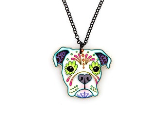 Boxer in White Necklace - Day of the Dead Sugar Skull Dog Pendant