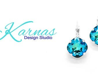 CRYSTAL BERMUDA BLUE 12mm Cushion Cut Drop or Stud Earrings Swarovski Crystal *Pick Your Finish *Karnas Design Studio *Free Shipping