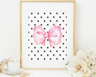 Pink Bow Printable Watercolor Bow Girl Nursery Decor Sweet Nursery Wall Art Bow Print  Bow Wall Art Pink Nursery Decor Pink and Black Dots