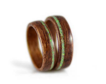 Promise Rings For Couples - Bubinga wood rings with opal inlays, wooden wedding bands, commitment rings, guy promise rings, girlfriend