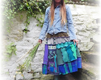 Unique Skirt, Long Skirt, Recycled Skirt, Owl Skirt, Hippy Skirt, Festival, Sweater Skirt, Flared Stretch Skirt, Upcycled Skirt, Plus Size
