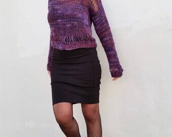 Loose knit sweater, purple sweater, purple knit jumper, loose pullover, hand knit sweater