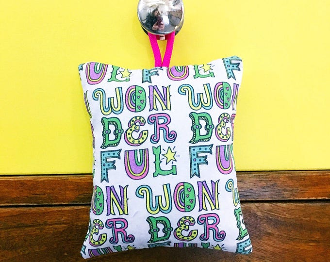 Wonderful - hand printed lavender bag (hand drawn typographic pattern)