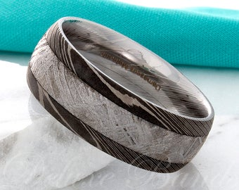 Meteorite Ring Damascus Steel Wedding Band Meteorite Inlay 8mm Anniversary Ring Custom Made Mens Meteorite Ring Promise Ring Free Engraving