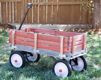 Little Red Wagon Digital Photo Background