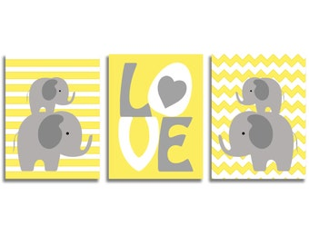 Set of 3 illustrations for boy's room. Birth gift, baptism. Elephants, love, rafters and stripes, yellow, gray and white.