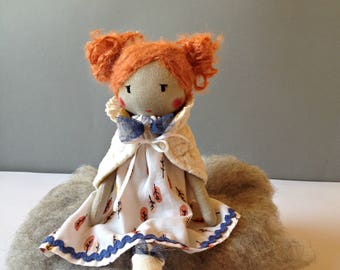 PRUDENCE rag doll - Unique doll to be dressed with bolero - Unique handmade cloth doll