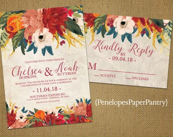 Elegant Floral Fall Wedding Invitation,Teal,Burnt Orange,Brick Red,Golden Yellow,Parchment,Romantic,Custom,Printed Invitation,Wedding Set