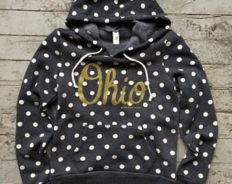 Ordering Has Ended*** Polka Dot Ohio - WOMAN'S - Alternative Apparel Hoodie - Metallic Gold - Handmade Screen Print