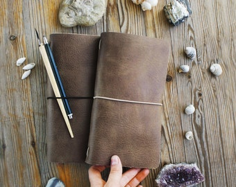 Leather travelers notebook, Brown traveler's notebook, Midori travel journal, organizer diary