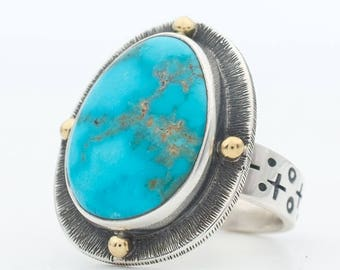 Turquoise Ring, Morenci Turquoise, Sterling Silver Turquoise Ring, Turquoise Jewelry, Natural Turquoise, Hand Made Ring, Southwestern