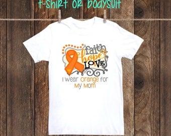 Newborn-Adult I wear orange for awareness leukemia multiple sclerosis kidney cancer shirt one piece bodysuit walk orange ribbon