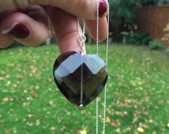 Smoky Quartz heart necklace, Sterling Silver large gemstone heart necklace, brown necklace, heart pendant necklace Smoky Quartz jewelry gift
