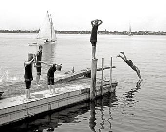 Boys Diving off a Pier, 1904. Vintage Photo Reproduction Print. 8x10 Black & White Photograph. Swimming, Beach, Vacation, Travel.