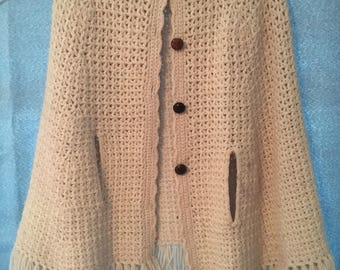 Knitted Wool Poncho Button Up