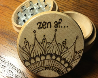 Free shipping, made to order, three piece herb grinder zen af