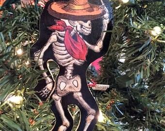Dancing Skeleton Guy Wooden Handmade Ornament