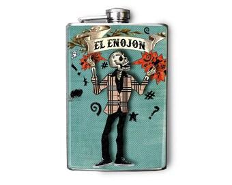 Flask Day of the Dead Skeletons 8oz El Enojon