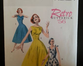 Butterick 5603 - Retro - Misse's fitted dress sewing pattern - A reproduction from a model dating from 1956 ! Size U.S. 14-20