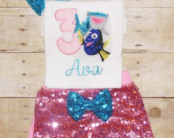 Finding Dory birthday outfit, Dory birthday shirt, Dory birthday tutu, Finding Nemo birthday outfit, Dory birthday invitations
