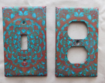 Blue and Brown Boho Switch Plates