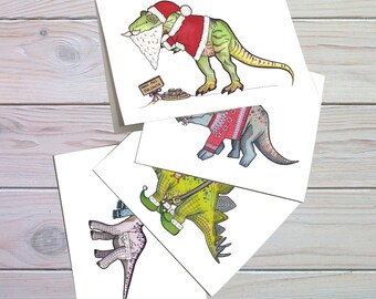 christmas cards, set of 4 fun dinosaur cards, Brachiosaurus, T-rex, Stegosaurus, Triceratops, fun christmas card, greeting card, quirky card