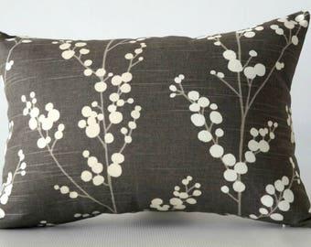 Gray lumbar pillow cover, gray decorative pillow, grey white pillow cover, cushion cover grey, decorative pillows,  gray pillow cover lumbar