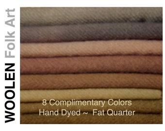 Bundle#18,Hand Dyed Wool, Rug Hooking,Appliqué, Quilting,Felted Wool Bundles, Fat Quarter, 8 Color Strips
