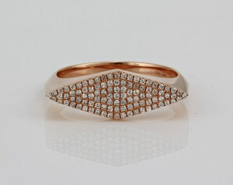 0.25ct Pavé Diamond in 14K Rose Gold Rhombus Geometric Shape Ring - CUSTOM MADE