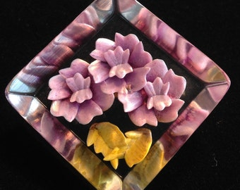 Vintage Jewellery Reverse Lucite Pink Flower Brooch.//Gifts for Her.