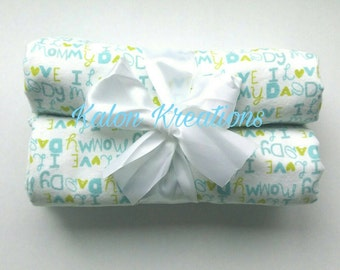 Mommy and Daddy Blue and Green Receiving Blanket Gift Set