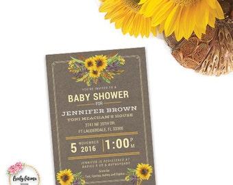 Fall Themed Baby Shower Invitation Printable  Kraft Sunflower Autumn
