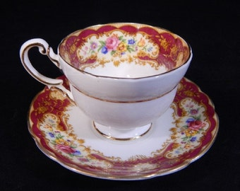 Vintage Paragon Pompadour China Cup & Saucer Set From The 1950's