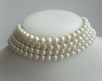 Ivory multilayer pearl choker necklace, pearl choker neckace,15 inch necklace,multistrand pearl choker,princess diana pearl choker