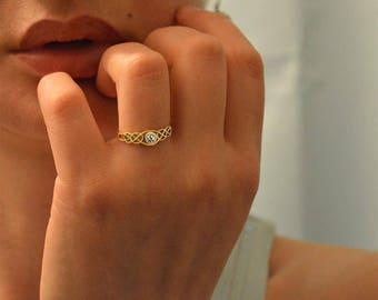 Gold engagement ring,Celtic knot engagement ring,Love knot 10k ring,Diamond Celtic ring,Women engagement ring,10k gold engagement rings,