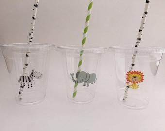 Safari Cups with Lids and Straws: Safari Plastic Drink Cups, Safari Party Supplies