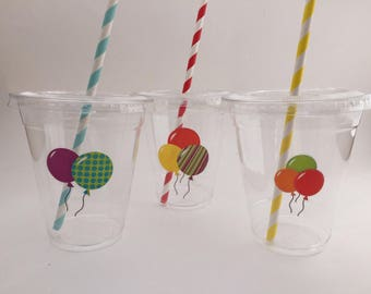 Balloon Cups with Lids and Straws: Balloon Plastic Drink Cups, Balloon Party Supplies